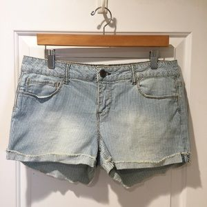 Forever 21 Railroad Pinstripe Denim Faded Shorts